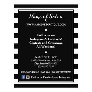 Trendy Black White Stripes Hair Salon Events 21.5 Cm X 28 Cm Flyer
