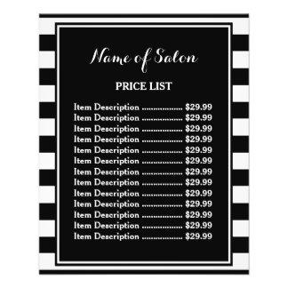 Trendy Black White Stripes Hair Salon Price List 11.5 Cm X 14 Cm Flyer