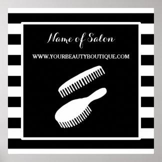 Trendy Black White Stripes Hair Salon Sign Poster