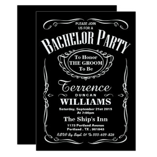Trendy Black & White Typography Bachelor Party Card