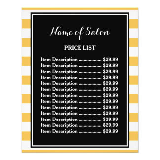Trendy Black Yellow Stripes Boutique Price List 11.5 Cm X 14 Cm Flyer