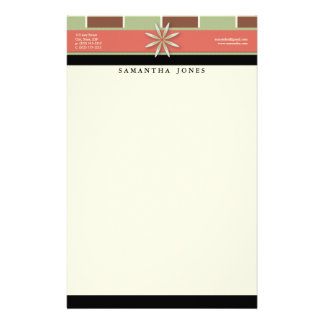 Trendy Bliss Sage and Melon Customized Stationery