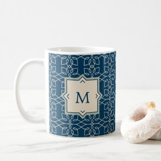 Trendy Blue and Blush Pattern with Monogram Coffee Mug