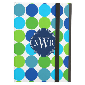 Trendy Blue and Green Polka Dot Pattern Monogram iPad Air Case