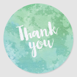 Trendy Blue and Green Watercolor Thank You Round Sticker