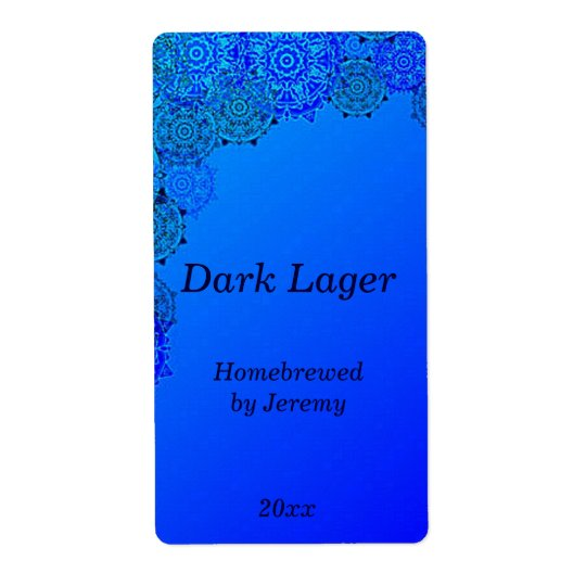 Trendy Blue Beer Label Shipping Label