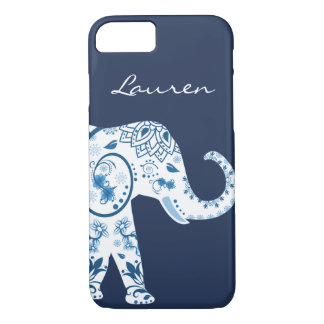 Trendy Blue Bohemian Lotus Elephant & Name iPhone 8/7 Case