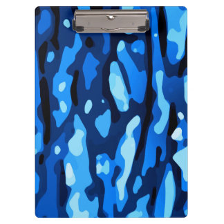 Trendy Blue Camo Abstract Pattern Clipboard