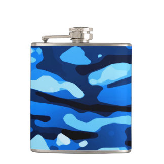 Trendy Blue Camo Abstract Pattern Hip Flask