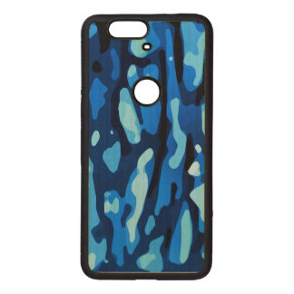 Trendy Blue Camo Abstract Pattern Wood Nexus 6P Case