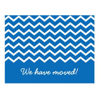 Trendy blue chevron pattern moving announcement postcard