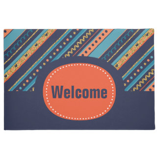Trendy Blue, Coral & Faux Gold Glitter Stripes Doormat