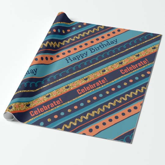 Trendy Blue, Coral & Faux Gold Glitter Stripes Wrapping Paper