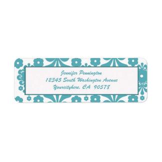 Trendy blue damask return address envelope labels