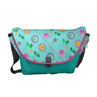 Trendy Blue Floral Ladies Bag Courier Bag