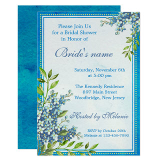 Trendy Blue Floral Watercolor Bridal Shower Card