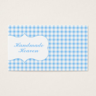 Trendy Blue Gingham Business Card