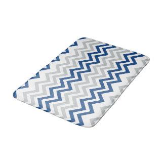 Trendy Blue Gray White Chevron Pattern Bath Mat