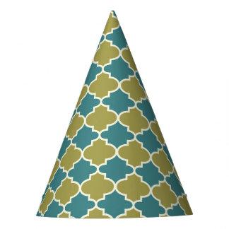 Trendy Blue & Green Moroccan Quatrefoil Party Hat