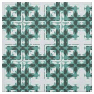 Trendy Blue Green Plus Cross Pattern Fabric