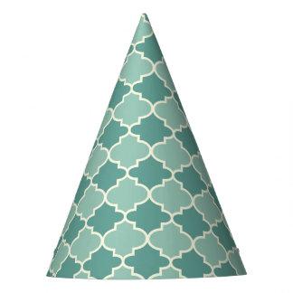 Trendy Blue Moroccan Quatrefoil Pattern Party Hats