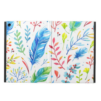 Trendy Blue-Orange Floral Boho Feather Pattern iPad Air Cover