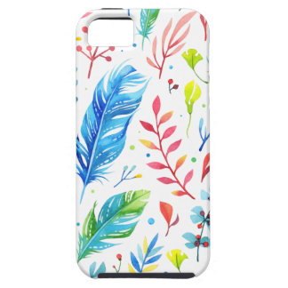 Trendy Blue-Orange Floral Boho Feather Pattern iPhone 5 Cases