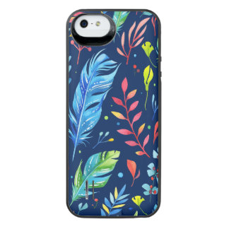 Trendy Blue-Orange Floral Boho Feather Pattern iPhone SE/5/5s Battery Case