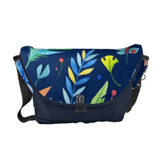 Trendy Blue-Orange Floral Boho Feather Pattern Messenger Bag