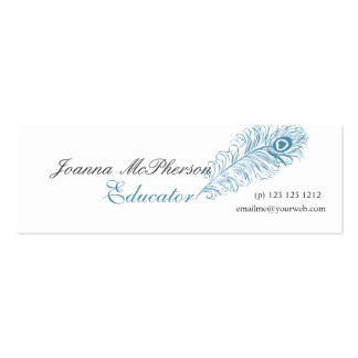 Trendy Blue  Peacock Feather Writing Typograhpy Pack Of Skinny Business Cards