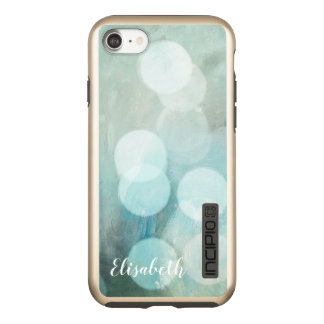 Trendy  Blue printed bokeh glitter personalized Incipio DualPro Shine iPhone 8/7 Case