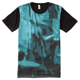 Trendy Blue Teal Aqua Camo Abstract Pattern All-Over Print T-Shirt