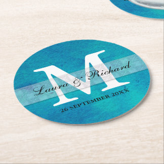 Trendy Blue Watercolor Wedding  Monogrammed Round Paper Coaster