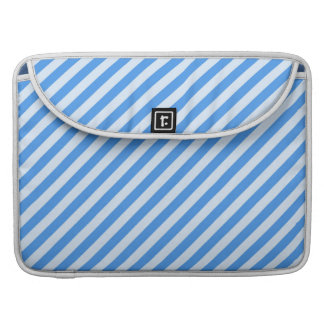 Trendy  Blue & White Modern Stripes Pattern MacBook Pro Sleeves