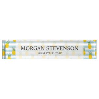 Trendy Blue White Stripes Pineapple Pattern Nameplate
