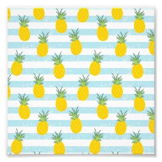 Trendy Blue White Stripes Pineapple Pattern Photo Print