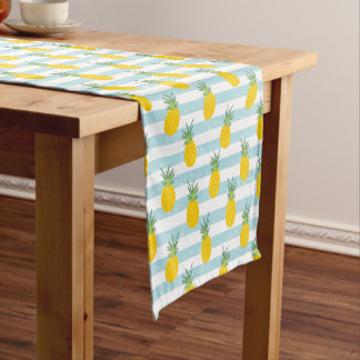 Trendy Blue White Stripes Pineapple Pattern Short Table Runner