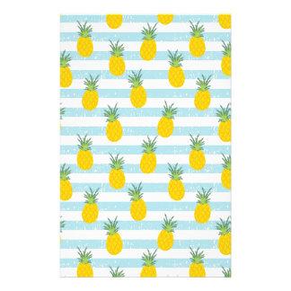 Trendy Blue White Stripes Pineapple Pattern Stationery