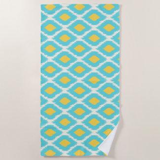 Trendy Blue Yellow Aztec Ikat Tribal Pattern Beach Towel