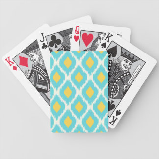 Trendy Blue Yellow Aztec Ikat Tribal Pattern Bicycle Playing Cards