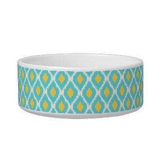 Trendy Blue Yellow Aztec Ikat Tribal Pattern Bowl