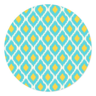 Trendy Blue Yellow Aztec Ikat Tribal Pattern Card