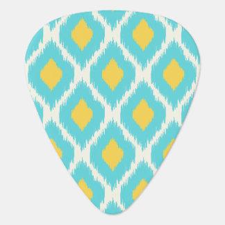 Trendy Blue Yellow Aztec Ikat Tribal Pattern Guitar Pick