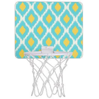 Trendy Blue Yellow Aztec Ikat Tribal Pattern Mini Basketball Hoop