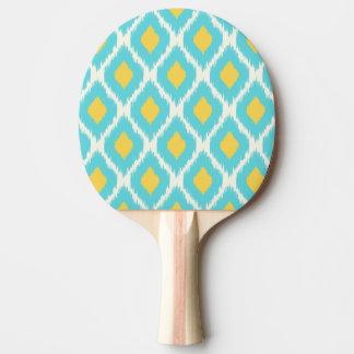Trendy Blue Yellow Aztec Ikat Tribal Pattern Ping Pong Paddle