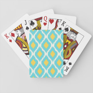 Trendy Blue Yellow Aztec Ikat Tribal Pattern Playing Cards