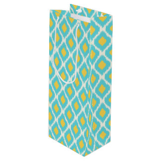 Trendy Blue Yellow Aztec Ikat Tribal Pattern Wine Gift Bag