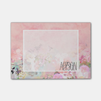 Trendy blush watercolor ombre floral watercolor post-it notes