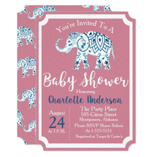 Trendy Bohemian Blue & Pink Elephant Baby Shower Card