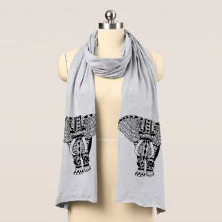 Trendy Bohemian Tribal Patterned Elephant Scarf